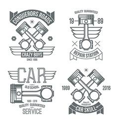 Car engine piston emblems vector image