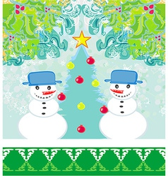 Christmas card with two funny snowmen vector