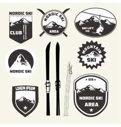 Set of skiing design elements  badges  logo vector