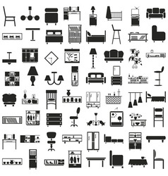 Furniture black icons on white vector