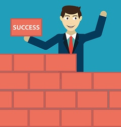 Businessman building a brick wall of success vector
