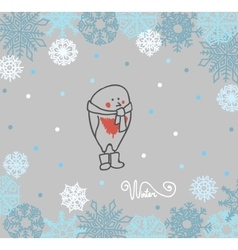 Funny birds bullfinch on winter background vector