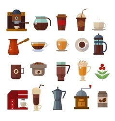 Coffee symbols set cup icons vector