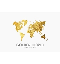 Golden world map world logo design creative vector