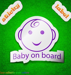Baby on board icon sign symbol chic colored sticky vector