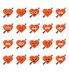 big set funny cartoon heart character emotions set vector image