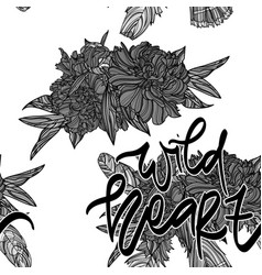 bouquets with lettering seamless pattern vector image