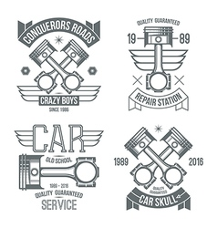 Car engine piston emblems vector