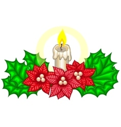 Christmas decoration with fir branches and candle vector