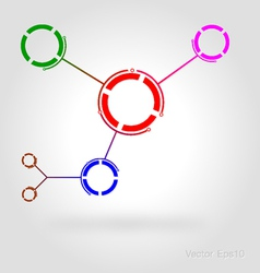 Connected by a colored cell Graphic vector image