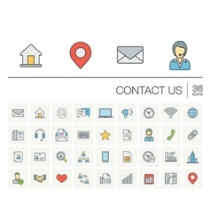 Contact us and communication color icons vector