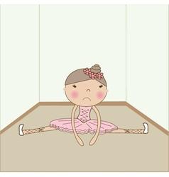 Cute sad ballerina fell on the floor vector
