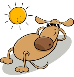 dog taking sunbath cartoon vector image