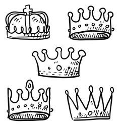 Doodle crowns vector