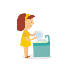 Falt girl washing dishes isolated vector