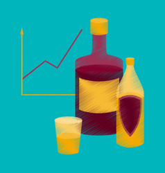flat shading style icon alcohol infographic vector image vector image