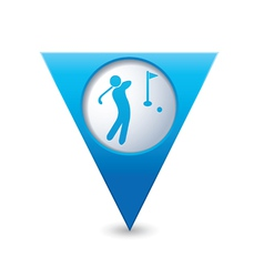 golf icon map pointer blue vector image