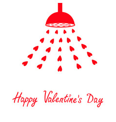 Happy valentines day red shower bath douche with vector