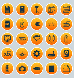 Hardware icons set collection of connector vector