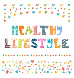 Healthy lifestyle background hand drawn lettering vector