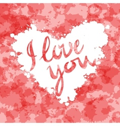 I love you heart red background painted with vector image
