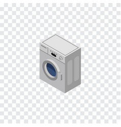 Isolated washing machine isometric laundry vector