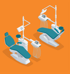 Isometric modern dentist chair isolated equipment vector