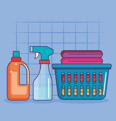Laundry basket clothes spray and detergent vector