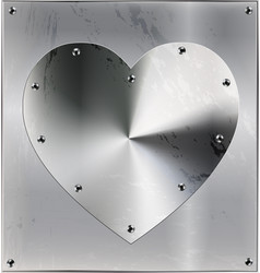 Metal sheet with heart and holes vector