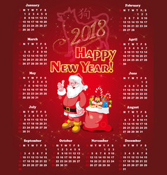 new year calendar for 2018 vector image vector image