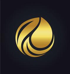 Organic bio leaf gold logo vector