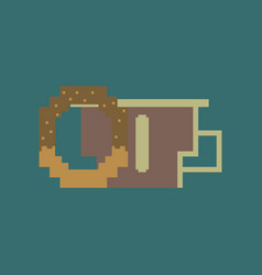 Pixel icon in flat style cup of coffee and pretzel vector