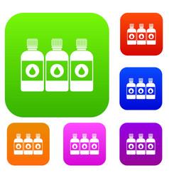 Printer ink bottles set collection vector
