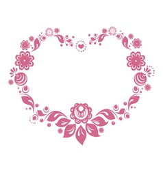 russian style floral heart vector image vector image