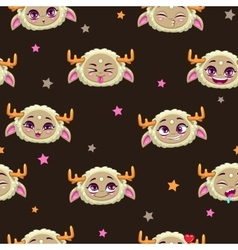 Seamless pattern with funny monster faces vector