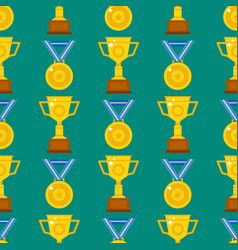 seamless pattern with trophy and awards vector image