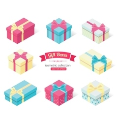 Set of 3d isometric colorful gift boxes with bows vector image
