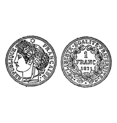 silver franc vintage engraving vector image vector image