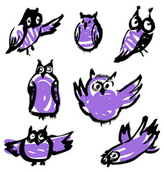 sketchy owls set artistic hand-drawn birds vector image vector image