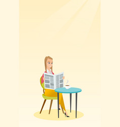 Woman reading a newspaper and drinking coffee vector