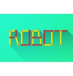 Word ROBOT of the mechanical parts vector image