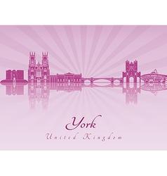 York skyline in purple radiant orchid vector