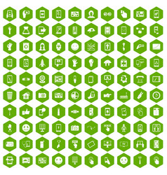 100 touch screen icons hexagon green vector