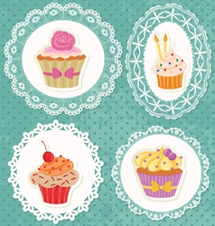 lace cupcake vector image