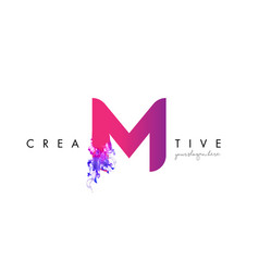 M letter logo design with ink cloud flowing vector