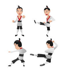 Martial art warrior character fight vector