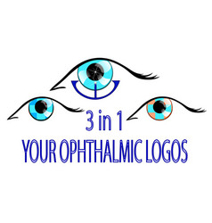 Three ophthalmic logos vector