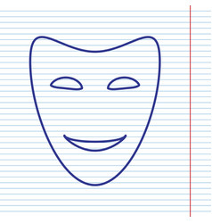 Comedy theatrical masks navy line icon on vector