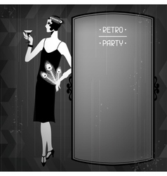 Retro party background with beautiful girl of vector
