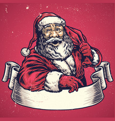 Hand drawing of santa claus with text space on vector